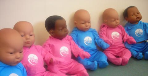 Baby simulator dolls used in sexual health workshops